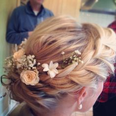 Very pretty soft romantic curls with plait and fresh rose, Lilly of the valley and gypsophilas for Brides hair for wedding.  Hair by www.sophiawyatt.co.uk