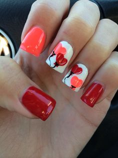 Valentine's nails-- I am really digging these!