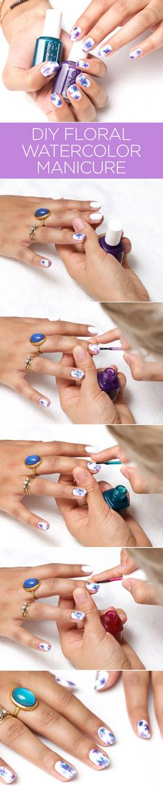 How-To: Floral Watercolor Manicure using Essie Silk Watercolor Collection