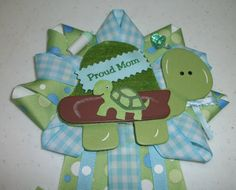 Turtle Baby Shower Theme Ideas | Baby Shower Its A Boy Mommy CORSAGE Turtle Animals Themed Green and ...