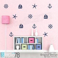 41d9b4adb Nautical Wall Decals - Set of Sailboat Anchors Starfish Helm Decals -  Sailor Decor - Boy Girl Decals - Baby Nautical Vinyl Wall Decals