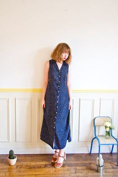 off with the code at checkout! Ends July maxi dress XS-S/ polka dot/ navy/ by LastTangoinParis Last Tango In Paris, Before Midnight, Summer Sale, 1980s, Polka Dots, July 9th, Photoshoot, Shirt Dress, Summer Dresses