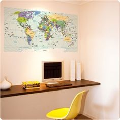 World Map wall poster seen in Carlisle Homes, on Dulux walls, Zimmer Photography - removable sticker - $89.95