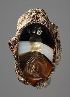 Athena with shield and spear. Roman Republican ringstone in iron ring, 300 BC-100 BC  Agate, iron