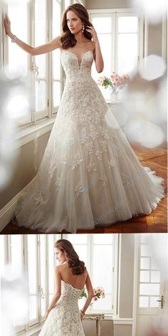 Attractive Tulle Champagne Mermaid Wedding Dress With Beading Lace Appliques,WDY0194#wedding dress#
