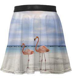 Flamingos on the beach circle skirt for kids, Mr. GUGU & Miss GO