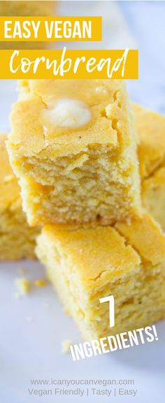 This easy vegan cornbread is amazing! Simple to make and perfect for pairing with your favorite dishes. This cornbread makes for the perfect side dish! Vegan Corn Bread Recipe, Vegan Cornbread, Vegan Bread, Vegan Butter, Vegan Foods, Vegan Vegetarian, Vegan Meals, Vegan Desserts, Vegetarian Recipes