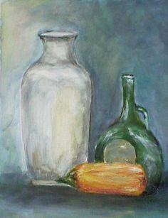 Jarrón, botella y mazorca