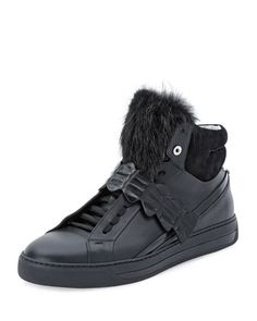 637ff125c Croc-Strap Leather High-Top Sneaker Black. Leather High TopsMens ...