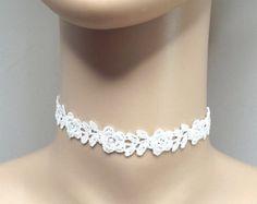Artículos similares a Gargantilla de ganchillo marfil, encaje crema gargantilla, gargantilla de encaje de fantasía, joyería nupcial de boda en Etsy