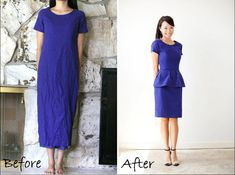 DIY: a thrift find dress to a peplum dress First step is to tailor the fit and shorten, then use extra length to create detachable peplum.