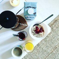 Morning breakfast with Oatly oat drink