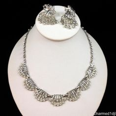 """Vintage Clear Rhinestone Necklace Dangle Earring Set Rhodium Plated 17.5""""L #Unbranded SOLD"""