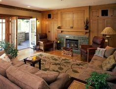 Built Ins around fireplace, gas fireplace, hidden TV, glass inserts for built ins