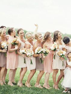 Every shade of cute. Donna Morgan bridesmaid dresses - www.donna-morgan.com  Photography: Krista Jones - kristaajones.com/