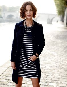 love the white stripes, the jacket and her haircut (I guess the Parisian backdrop doesn't hurt either!)