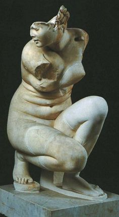 """""""The Crouching Aphrodite of Doidalses (Roman copy of a c.250 B.C.E. Greek original): Off topic; it's a great artifact but, really, the main reason I'm repinning this? Stomach folds. Stomach folds on Aphrodite, goddess of love and beauty. I just find that detail really significant--that the ideal of beauty wasn't a twig figure."""""""