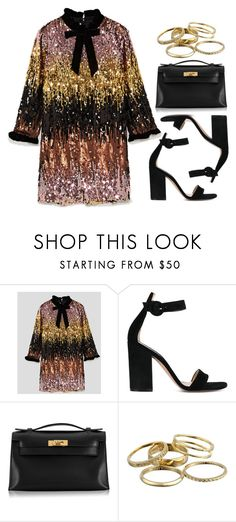 """""""Sequins"""" by vany-alvarado ❤ liked on Polyvore featuring Gianvito Rossi, Hermès and Kendra Scott"""