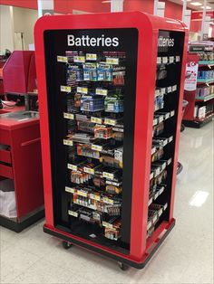 Batteries are highly mobile power sources. Why not their displays? This small footprint, Dolly equipped Mobile Battery Display Provides Moveable Cross Sell