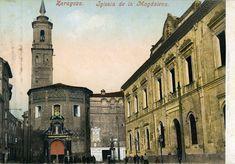 Postal coloreada, Iglesia de la Magdalena y antigua fachada de la Universidad. Zaragoza. Principios del siglo XX. 27