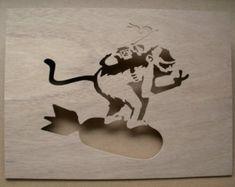 Banksy mono detonador Stencil de madera por existencil en Etsy
