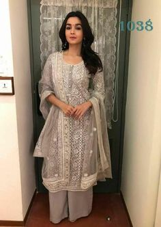 Excited to share this item from my shop: VeroniQ Trends-Bollywood Star Alia Bhatt Style Kurti Palazzo Set in Grey Color with Self Embroidered Kurti-Casual Wear,Party Wear,Wedding Kurta Designs, Kurti Designs Party Wear, Pakistani Dresses, Indian Dresses, Indian Outfits, Pakistani Suits, Emo Outfits, Punjabi Suits, Indian Attire