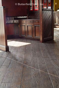 The Wood Plank stamp from Butterfield Color® is the ideal tool for your next decorative concrete project. Concrete Wood Floor, Wood Stamped Concrete, Concrete Tools, Concrete Projects, Stained Concrete, Concrete Patio, Concrete Stamping, Concrete Interiors, Building A Deck