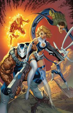 The Fantastic Four by J. Scott Campbell from his Return of The Fantastic Four variant cover for Weapon H (August Ms Marvel, Marvel Comic Universe, Marvel Girls, Comics Girls, Marvel Heroes, Captain Marvel, Comic Book Characters, Marvel Characters, Comic Character