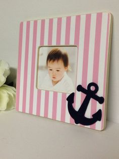 Baby Picture Frame Nursery GIFT Nautical anchor pink by JaxandJos