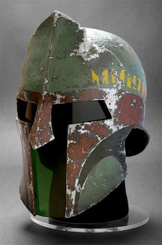 The guy who made the helmets for 300 painted this one to look like the Boba Fett helmet in Return of the Jedi.