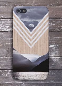 Chevron Lake x Mountains Wood Case for iPhone 6 6