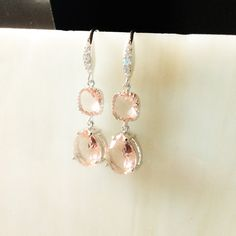 sparkly silver hook peachy blush pink dangle by LaylaReneeCouture