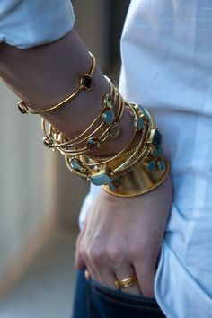 stack with style #bangles #cuff #gold #jewelry #bracelet