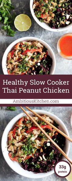 INCREDIBLE slow cooker thai peanut chicken that's tender, savory, full of peanut butter flavor and just slightly spicy (if you like!)./We loved it. I even tried the purple sticky rice and it is awesome. Will make again.