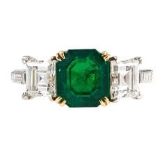 Beautiful Emerald Diamond Gold Platinum Ring | From a unique collection of vintage more rings at http://www.1stdibs.com/jewelry/rings/more-rings/
