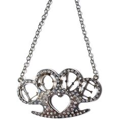 Heart Brass Knuckles Necklace ($25) ❤ liked on Polyvore featuring jewelry, necklaces, letter necklace, heart pendant necklace, swarovski crystal pendant necklace, heart pendant and swarovski crystal heart pendant