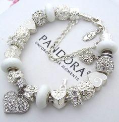 Tendance Brt Charms Bea PANDORA Sterling Silver Bracelet with White Crystal Heart Charms Beads #PandoraBracelet #European