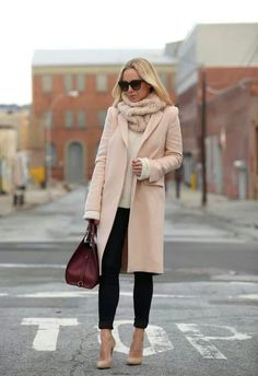 This just looks so comfy-cozy. Would like the coat to be darker, with a pop of color in the scarf