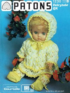 PDF Vintage Doll Clothes Knitting Pattern Premature Baby