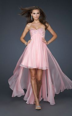 Modern Fashionable Beaded High Low Empire Flattering Lovely Pink Unique  dress High Low Prom Dresses d6b5355fa4