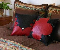 Western Pillow Set Distressed red and black leather by LizzyandMe, $84.97