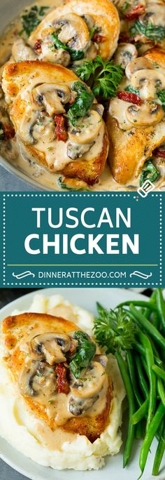 This Tuscan chicken is golden brown chicken breasts coated in a creamy parmesan, mushroom, sun dried tomato and spinach sauce. Chicken Appetizers, Appetizer Recipes, Dinner Recipes, Dinner Ideas, Easy Chicken Recipes, Turkey Recipes, Chicken Recepies, Chicken Meals, Cooking Recipes