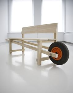 Wheel bench by Rogier Martens Urban Furniture, Street Furniture, Garden Furniture, Wood Furniture, Furniture Design, Outdoor Furniture, Wood Projects, Woodworking Projects, Take A Seat