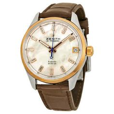Zenith El Primero Espada Automatic Mother of Pearl Brown Leather Men's Watch Mens Watches Leather, Leather Men, Watches For Men, Brown Leather, Gold Hands, Stainless Steel Case, Diamond Cuts, Rose Gold, Pearls
