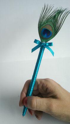 Peacock Wedding Guest Book Pen, peacock Wedding Pen and Luxury Wedding Guest…