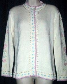 $25.99 Storybook Knits Winter Floral Cardigan Sweater XS
