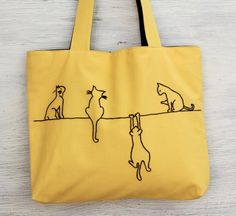 yellow bag tote bag cats yellow embroidery by NIARMENA on Etsy, $34.00