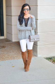 "Express ""lace-up high-lo sweater"", Dolce Vita over the knee boots, white jeans for fall"