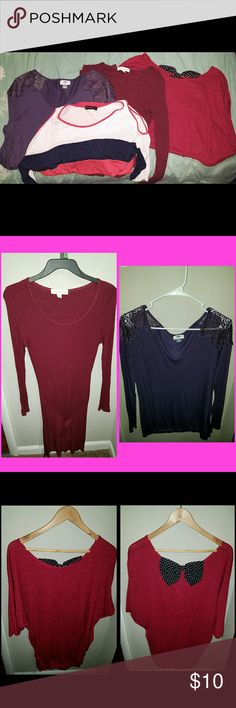 Womens tops lot large 4 woman's tops. Maroon color top, long sleeve, and ties at bottom, fitted and very cute with leggings, Nicki minaj brand, picture next to it purple long sleeve with lace on the shoulder, never worn, old navy brand. Next picture red tunic with poka dot bow on back, juniors xl, fits like a women's large not too big, great with leggings!tempted brand. Last pic. Striped top with cut out sleeve on the shoulder, Annabelle brand. Junior xl. Fits like a large or medium in…