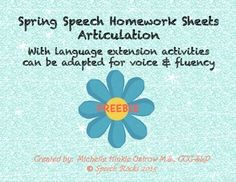 Free! Spring Speech Homework Sheets: March, April, May Arctic-with language extension activities